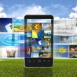 The concept of photo sharing via internet or  social media with smart phone / hand phone